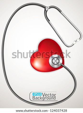 stethoscope measuring heartbeat. vector - stock vector
