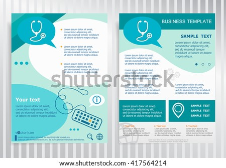 Stethoscope symbol on vector Brochure. Flyer design. Layout template, size A4.  - stock vector
