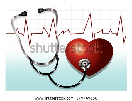 stethoscope to hear the heartbeat and electrocardiogram - stock vector