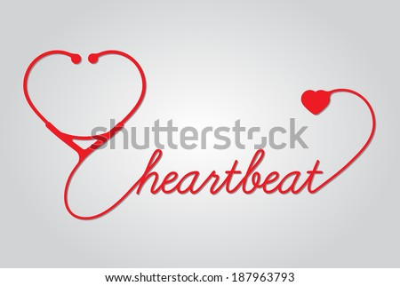 stethoscope with heart, hearthbeat, vector