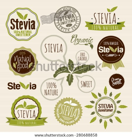 Stevia and Organic food label Set. Farm Fresh label and Logo element. Organic,bio,ecology natural design template. Easy editable for Your design. - stock vector