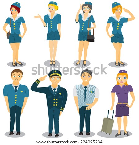 Stewardess and a flying captain vector illustrations. - stock vector