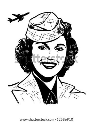 Stewardess - Retro Clipart Illustration - stock vector