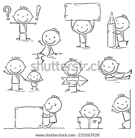 Stick figure cartoon character in different poses with signs and objects, black and white