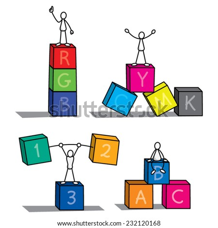 Stick figure cartoon with boxes - stock vector