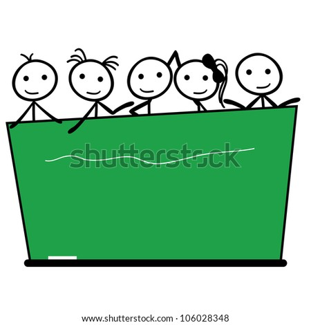 stick figure children with black board for education and learning - stock vector