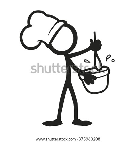 Stick Figure Cooking Mixing
