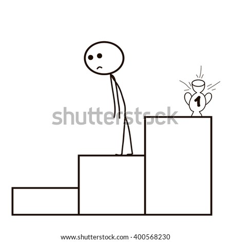 Stick Figure hopelessness , failure   vector , isolated - stock vector