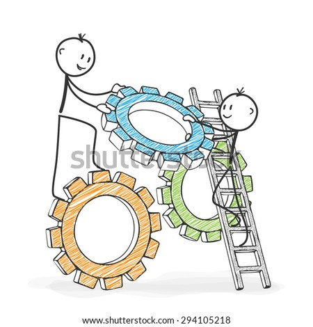 Stick Figure in Action - Stickman helping his colleague. Symbolic Teamwork Gear Wheel Icon. Stick Man Vector Drawing with White Background and Transparent, Abstract Three Colored Shadow on the Ground. - stock vector