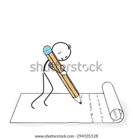 Stick Figure in Action - Stickman writes a letter with a Pencil Icon. Stick Man Vector Drawing with White Background and Transparent, Abstract Three Colored Shadow on the Ground. - stock vector