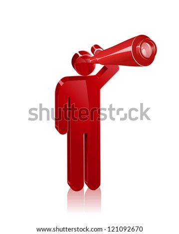 Stick figure looks out with a telescope. Concept to represent vision or looking forward. - stock vector