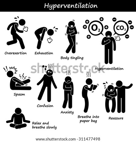 Stick Figure Pictogram Icons depicting Hyperventilation, Overbreathing, Overexert, Exhaustion, Fatigue, Causes, Symptom, Recovery, Treatments - stock vector