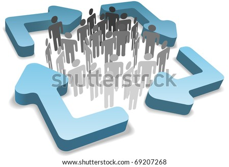 Stick figure symbol people inside four rounded 3D process management system or recycle arrows - stock vector