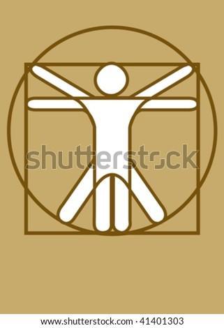 Stick figure vector as Leonardo Da Vinci´s Vitruvian Man - stock vector