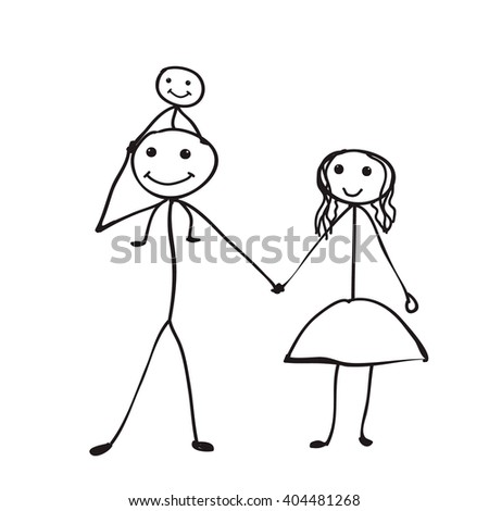 Stick Figure  vector , isolated, happy family - stock vector