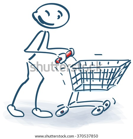 Stick figure with a shopping cart and successful shopping - stock vector