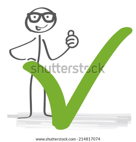 stick figure with green check mark - stock vector