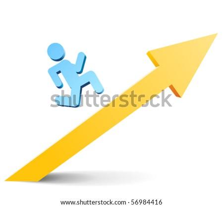 Stick Figures and arrow - stock vector