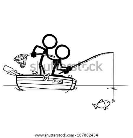 Stick Figures Fishing - stock vector