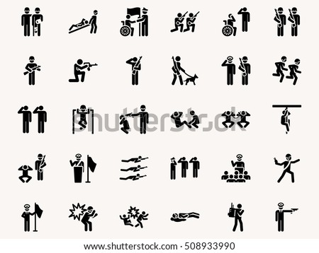 Stick figures Military pictograms