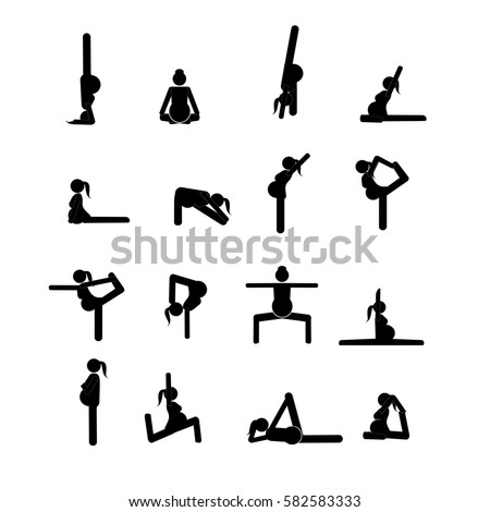 stick figures pregnant woman doing yoga stock vector