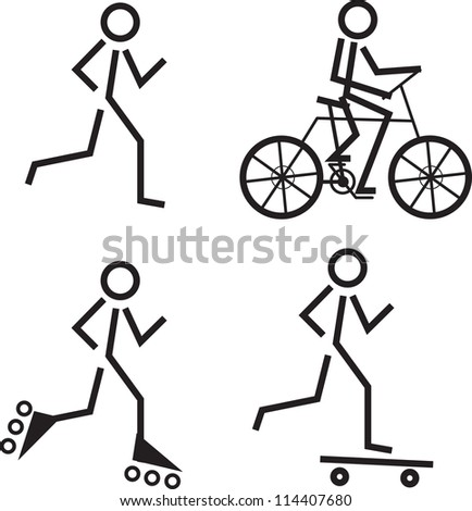 Fun Stick Figures Stick Figures Skating Running
