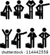 Stick man business icons - stock photo