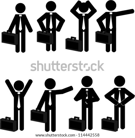 Stick man business icons - stock vector