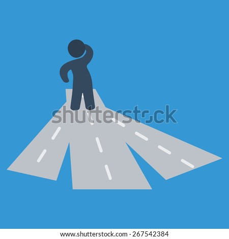Stick man figure at a crossroad vector illustration. Multiple choice concept. - stock vector