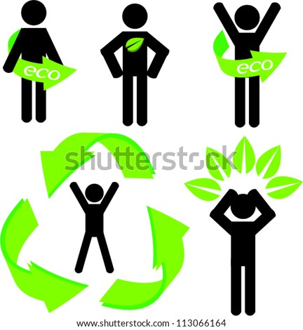 Stick man figure with eco stuff part 2 vector - stock vector
