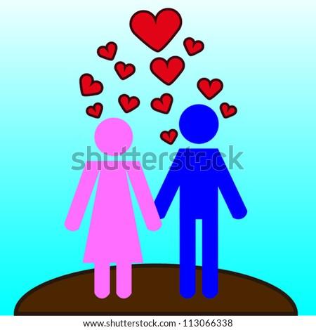 Stick man figures in love vector - stock vector