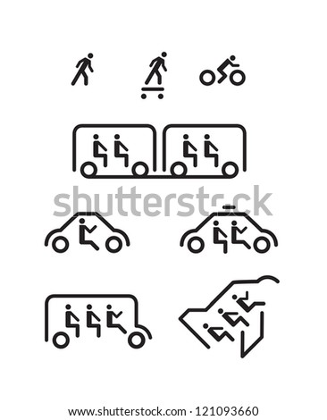 Stick man icons represent different mode of transportation. - stock vector