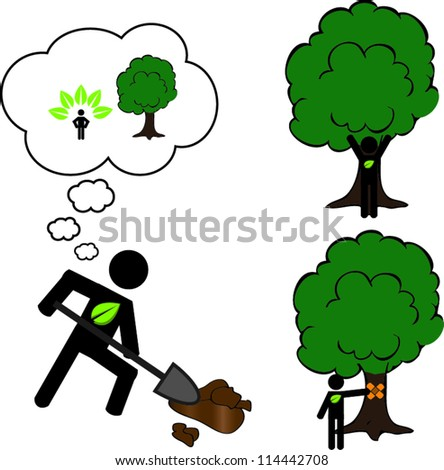 Stick man planting tree - stock vector