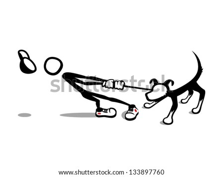 Stick Man: Reluctant Dog Taking his dog for a walk or getting walked by his dog? A dog whisperer he is not. Lucky he still looks sharp at the dog park in his red dot sneakers and white cartoon gloves. - stock vector