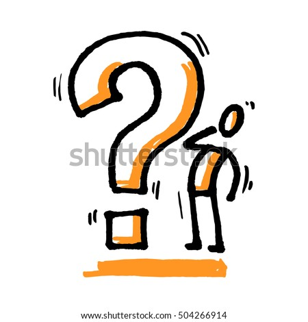 Stick man with question mark. Hand drawn vector illustration isolated on white.