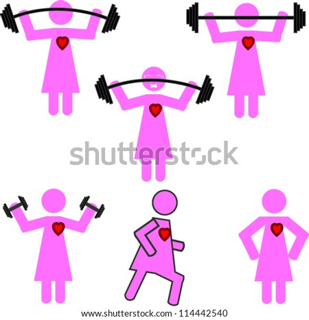 Stick man workout with heart - stock vector