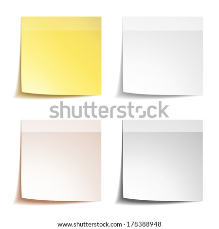 Stick note paper on white background - stock vector