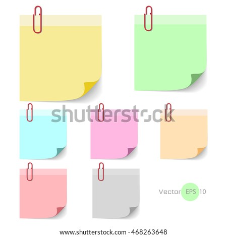Stick note paper with Color set Isolate on vector white  background, set of paper note ,blank frame for you design , EPS10 illustration