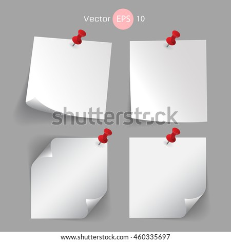 Stick note paper with White Color  Isolate on white  background,Vector  Illustration