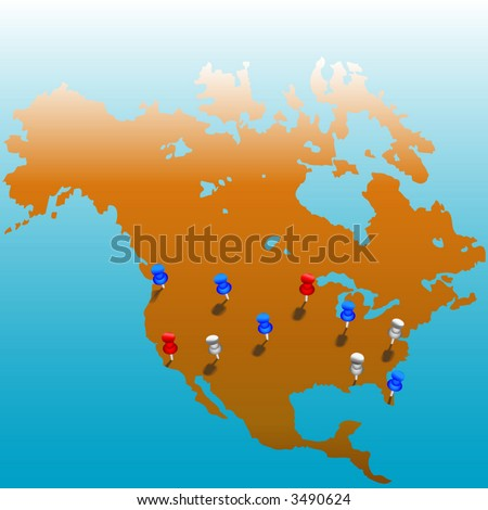 stick pins us map america color stock vector 3490624 shutterstock