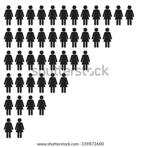 Stick Woman Icon Set - Vector Illustration Stock - stock vector