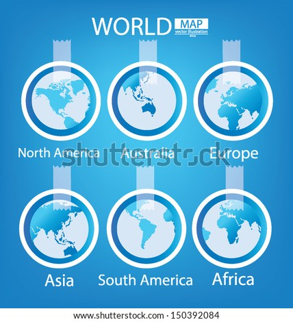 Sticker. Africa. Asia. Australia. Europe. North america. South america. World Map vector Illustration. - stock vector