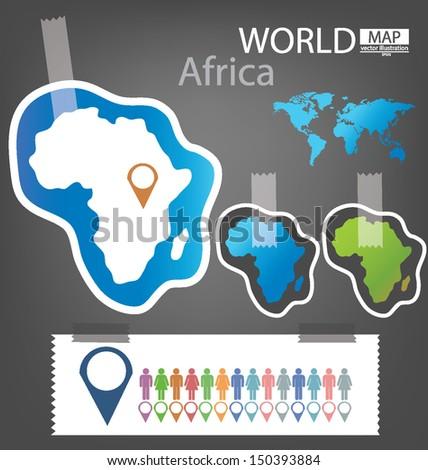 Sticker. Africa. World Map vector Illustration. - stock vector