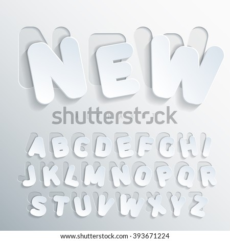 Sticker alphabet. Carved base of white cardboard letters, placed on the right side of this base with varying degrees of bias. Volumetric letters with thin round-up angles. Vector illustration - stock vector