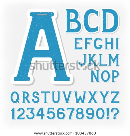 Sticker alphabet with numbers and marks based on author's original hand drawn font. Looks like made of recycled paper, ecology concept. Blue version. - stock vector