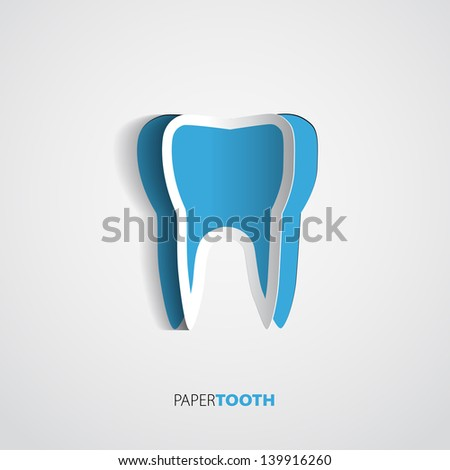 Sticker Blue paper Tooth On White Background - Vector Illustration - stock vector