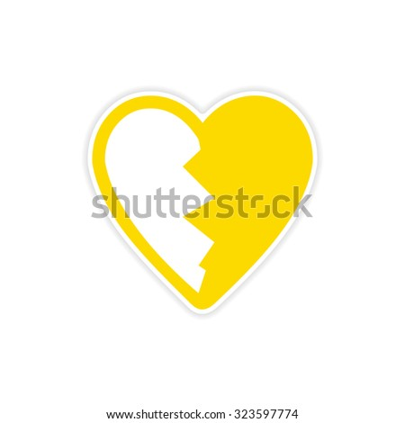 sticker bright heart broken into pieces on a white background - stock vector