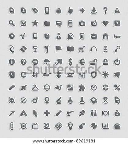 Sticker button set. 100 icons for business, entertainment, technology and education. Vector illustration. - stock vector