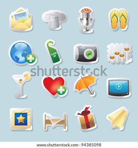 Sticker button set. Icons for entertainment, travel and arts. Vector illustration.
