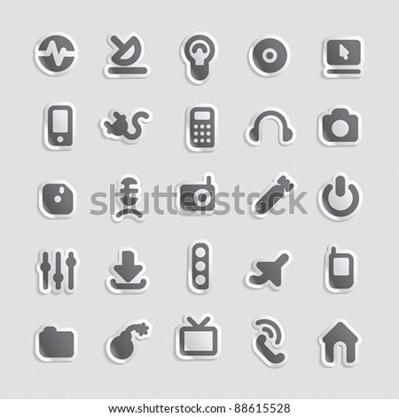 Sticker button set. Icons for industry and technology. Vector illustration. - stock vector